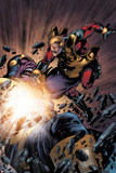 The Thanos Imperative No.5: Captain America and Thanos Fighting Print by Miguel Angel Sepulveda