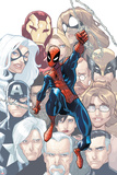The Amazing Spider-Man No.648 Cover: Spider-Man Swinging Prints by Humberto Ramos