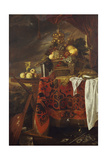A Basket of Mixed Fruit with Gilt Cup, Silver Chalice, Nautilus, Glass and Peaches on a Plate Giclee Print by Jan Davidsz. de Heem