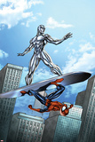 Marvel Adventures Spider-Man No.19 Cover: Silver Surfer and Spider-Man on the Silver Surf Board Prints by Ale Garza