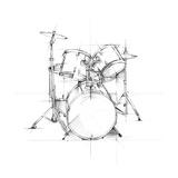 Drum Sketch Kunst op gespannen canvas van Ethan Harper