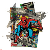Marvel Comics Retro Badge Featuring Spider Man Posters