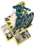 Marvel Comics Retro Badge Featuring Ghost Rider Print