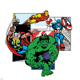 Marvel Comics Retro Badge Featuring Hulk, Thor, Iron Man, Captain America Photo