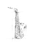 Saxophone Sketch Stretched Canvas Print by Ethan Harper