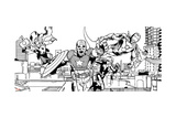 Avengers Assemble Inks Featuring Captain America, Thor, Iron Man, Black Widow, Falcon Prints