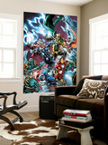 Avengers Assemble Panel Featuring Captain America, Iron Man, Thor, Loki, Falcon Premium Wall Mural