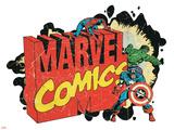 Marvel Comics Retro Badge Featuring Spider-Man, Hulk, Captain America Affiche