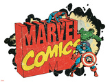 Marvel Comics Retro Badge Featuring Spider-Man, Hulk, Captain America Print