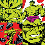 Marvel Comics Retro Pattern Design Featuring Hulk Wall Decal