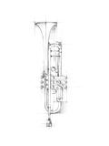 Trumpet Sketch Kunst på  metal af Ethan Harper