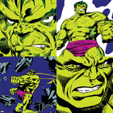 Marvel Comics Retro Pattern Design Featuring Hulk Print