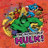 Marvel Comics Retro Pattern Design Featuring Hulk, Iron Man, Captain America Posters