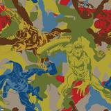 Marvel Comics Retro Pattern Design Featuring Captain America, Thor, Iron Man Posters