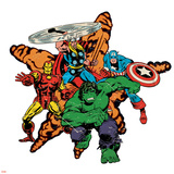 Marvel Comics Retro Badge Featuring Hulk, Thor, Iron Man, Captain America Posters