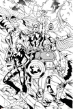 Avengers Assemble Inks Featuring Captain America, Black Widow, Thor, Iron Man, Falcon Plakát
