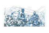 Avengers Assemble Pencils Featuring Hawkeye, Captain America, Iron Man, Thor, Black Widow Print