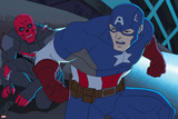 Avengers Assemble Animation Still Featuring Captain America, Red Skull Posters