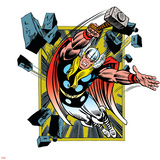 Marvel Comics Retro Badge Featuring Thor Poster