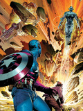 Avengers Assemble Panel Featuring Captain America, Ultron Plastic Sign