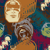 Marvel Comics Retro Pattern Design Featuring Black Bolt, Lockjaw, Daredevil, Black Panther Prints