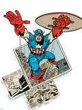 Marvel Comics Retro Badge Featuring Captain America Wall Decal