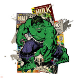 Marvel Comics Retro Badge Featuring Hulk Print