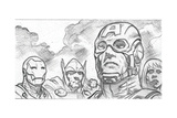 Avengers Assemble Pencils Featuring Iron Man, Captain America, Thor, Black Widow Print