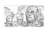 Avengers Assemble Pencils Featuring Iron Man, Captain America, Thor, Black Widow Print