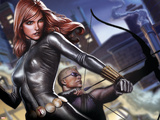 Avengers Assemble Artwork Featuring Black Widow, Hawkeye Plastic Sign