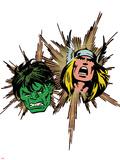 Marvel Comics Retro Badge Featuring Thor, Hulk Prints