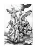 Avengers Assemble Artwork with Thor, Hulk, Iron Man, Captain America, Hawkeye, Black Widow, Loki Poster