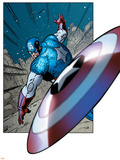 Avengers Assemble Panel Featuring Captain America Stretched Canvas Print
