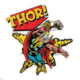 Marvel Comics Retro Badge Featuring Thor Print