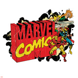 Marvel Comics Retro Badge Featuring Iron Fist, Thor, Iron Man Posters