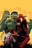 Indestructible Hulk 10 Cover Featuring Daredevil, Hulk, Bruce Banner Plastic Sign by Paolo Rivera