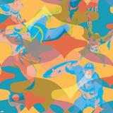 Marvel Comics Retro Pattern Design Featuring Thor, Captain America, Iron Man Prints
