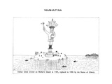 "Indian totem erected on Bedloe's Island in 1584, replaces in 1886 by the S..."" - New Yorker Cartoon Premium Giclee Print by Saul Steinberg"