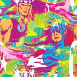 Marvel Comics Retro Pattern Design Featuring Thor, Captain America Posters