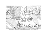 "A delegation from the Fourteenth Arrondissement visits the 10021 Zip Code,…"" - New Yorker Cartoon Premium Giclee Print by Saul Steinberg"