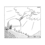 Science and Religion -- a hand reaches out of the clouds, and puts its fin... - New Yorker Cartoon Premium Giclee Print by Jack Ziegler