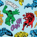 Marvel Comics Retro Pattern Design Featuring Thor, Iron Man, Hulk, Captain America Posters