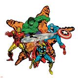 Marvel Comics Retro Badge Featuring Hulk, Iron Man, Captain America, Thor Posters