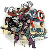 Marvel Comics Retro Badge Featuring Falcon, Captain America, Black Widow, Hawkeye Posters