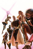 Squadron Supreme 1 Cover with Blur, Doctor Spectrum, Nighthawk, Warrior Woman, Hyperion, Thundra Plastic Sign by Alex Ross