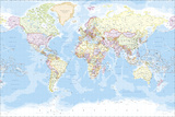 The Vintage Collection - World Map - Giclee Baskı