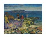 Dock Builders Premium Giclee Print by George Wesley Bellows