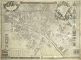 Nouveau Plan de Paris, 1728 Gicléetryck av J. Delagrive