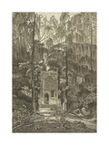 View of the Chapel in the Garden at Strawberry Hill Premium Giclée-tryk af William Pars
