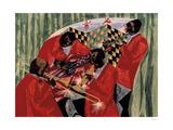 Village Quartet, 1954 Giclée-trykk av Jacob Lawrence